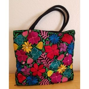 Mexican textile embroidered bag